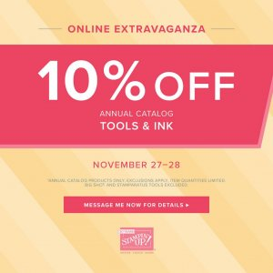 Online Extravaganza- 10% off Tools & Ink!  Limited time Nov. 27-28th
