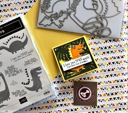 A cute 3 x 3″ Dino Days card!